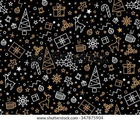 Black and gold festive seamless pattern for gift wrapping or cards for Christmas. Easy style in one line, hipster style. - stock vector