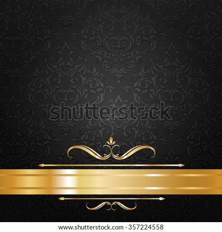 black and gold label background vector - stock vector