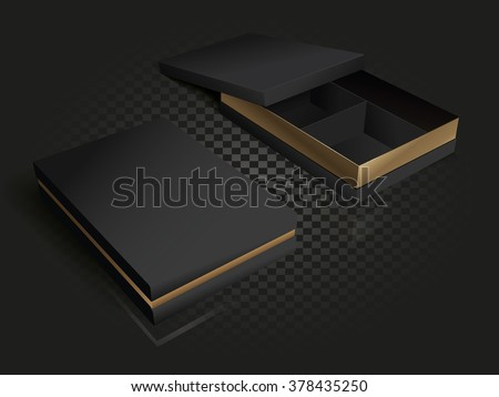 Black and gold luxury packaging with compartments. 3D illustration. Gold vector cardboard box. Open and closed boxes on a transparency background. - stock vector