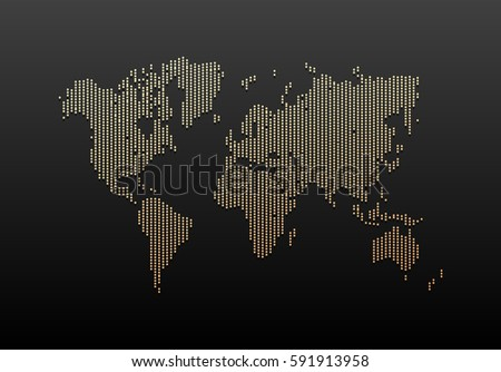 Black and Gold World Map Design. Vintage Hatched World Map with Lines. Travel Vector Illustration.