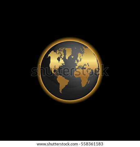 Black gold world map illustration stock vector 558361183 shutterstock black and gold world map illustration gumiabroncs Images