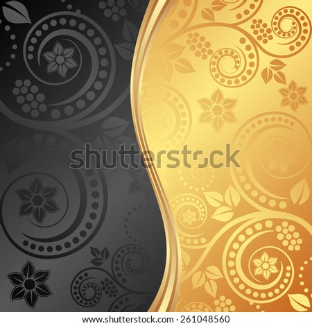 black and golden background divided into two - stock vector
