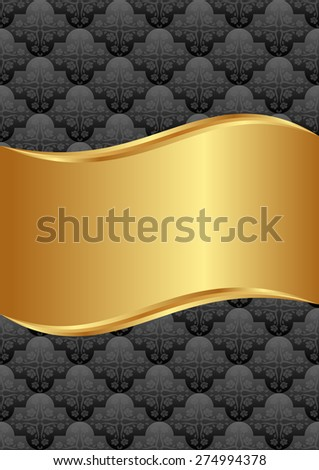 black and golden background with vintage pattern - stock vector