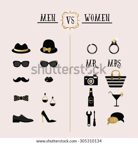 Black and golden hipster Men Vs Women accessories and design icons on pink background - stock vector