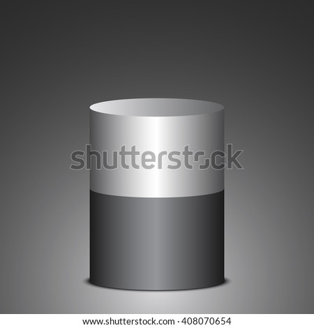 Black and gray cylinder. Barrel. 3D. Vector illustration.