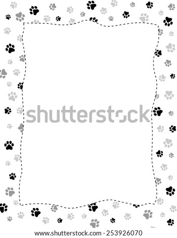 Paw print border stock images royalty free images vectors shutterstock - Paw print wall border ...