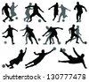 Black and gray silhouettes of football players-vector - stock vector