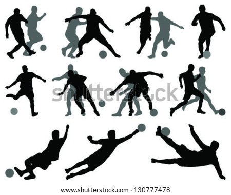 Black and gray silhouettes of football players-vector