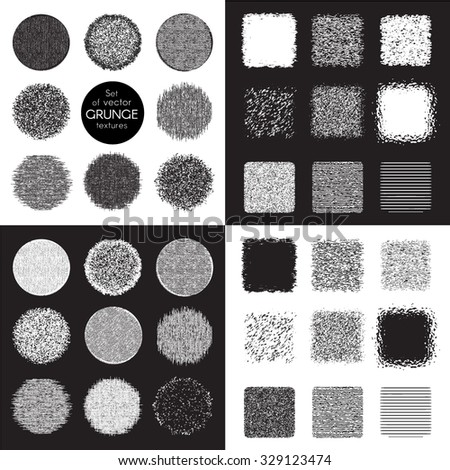 Black and gray spots, a collection set of black and gray spots grunge halftone texture - stock vector