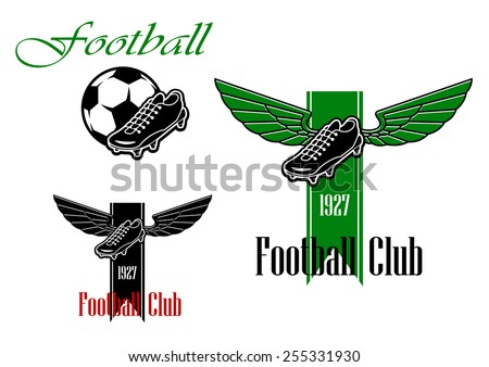 Black and green  football or soccer emblems with winged football boots, ribbon, text and ball - stock vector