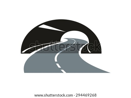 Black and grey stylized modern road icon with a tarred freeway winding through a tunnel - stock vector
