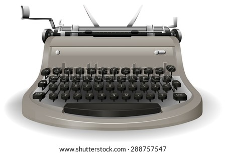 Black and grey typewriter on a white background