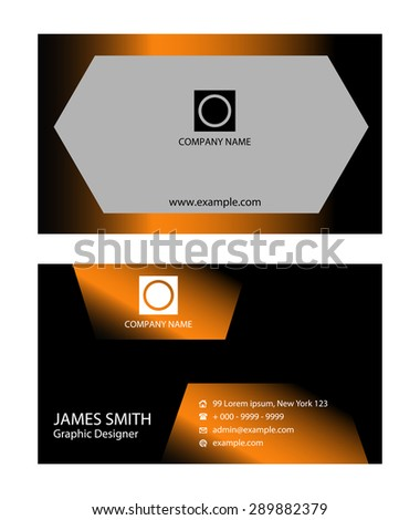 Black orange business card stock vector 289882379 shutterstock black and orange business card colourmoves