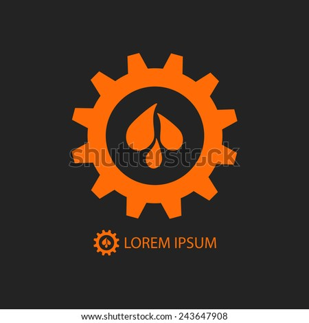 Black and orange gear wheel with water drops as logo. Plumbing or engineering sign - stock vector
