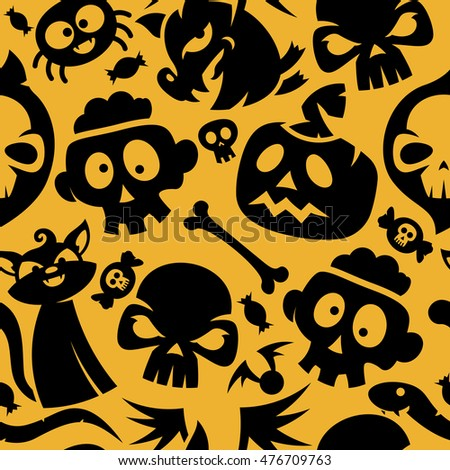 black and orange halloween seamless pattern contain symbols like cat skull candy - Black And Orange Halloween
