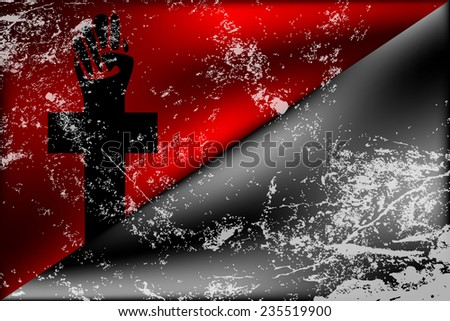 Black and red anarchy flag with anarchy cross and light grunge effect elements - stock vector