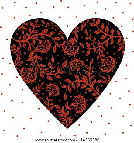 black and red background with flowers and hearts. vector traditional floral ornament - stock vector