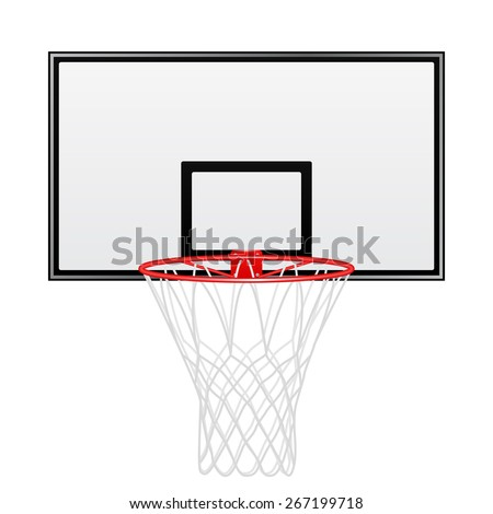 Black and red basketball backboard isolated on white background. Vector EPS10 illustration.  - stock vector