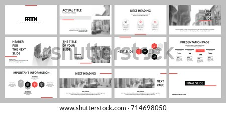 Black and Red elements on a white background. This template is the best as a business presentation, used in marketing and advertising, the annual report, flyer and banner