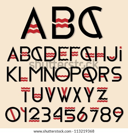 Black and red font and numbers. Vector set - stock vector