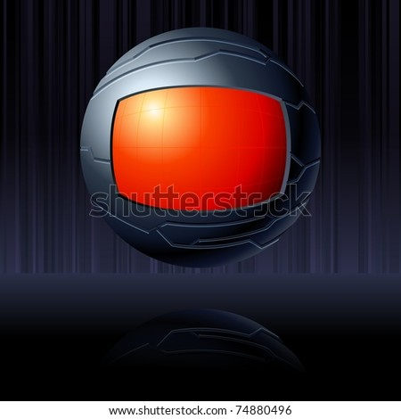 Black and red futuristic globe. Includes transparencies (EPS10); jpg version also available - stock vector