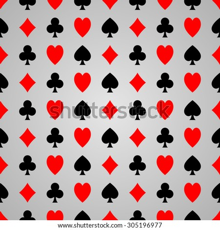 Black and red poker suit on gray background, seamless poker pattern.