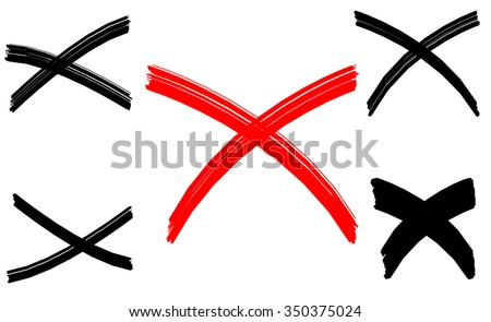 Black and red vector crosses outline set, cross silhouette isolated over white background illustration - stock vector