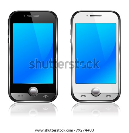 Black and silver mobile phone with reflection - All elements are grouped and on individual layers in the vector file for easy use - stock vector