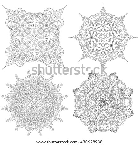 Black and white abstract circular pattern mandala. Vector pattern. On a white background - stock vector