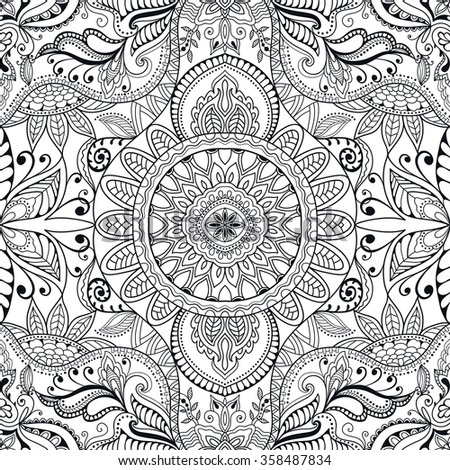 Black and white abstract fantasy graphic background, seamless fabric pattern. Hand drawn floral geometric sketch texture. Tribal ethnic ornament, doodle vector illustration.  - stock vector