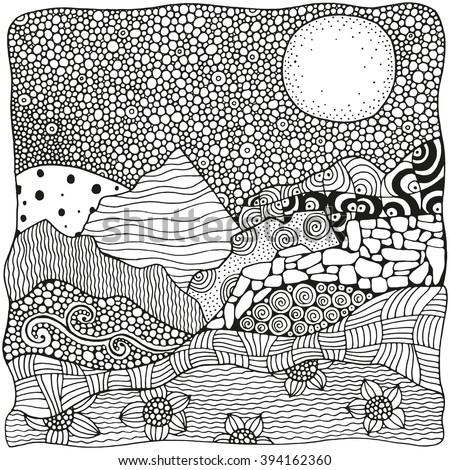 Black and white abstract fantasy picture. Moonlight, mountains. Eco theme. Pattern for coloring book. Hand-drawn, ethnic, retro, doodle, vector, zentangle, tribal design element.  Zen art. Zentangle. - stock vector