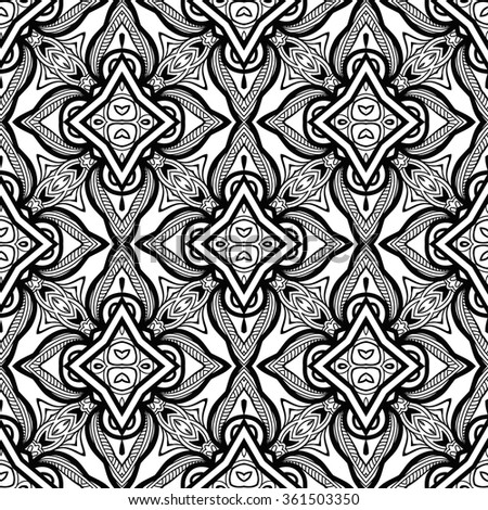 Black and white abstract graphic background, seamless geometric floral pattern. Monochrome repeating texture with tribal ethnic ornament. - stock vector