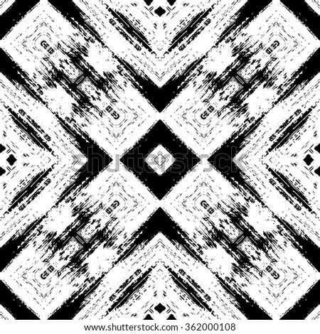 Black and white abstract graphic background, seamless pattern, repeating grunge texture, vector illustration. - stock vector