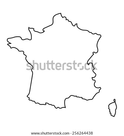 black and white abstract map of France - stock vector