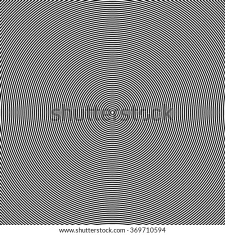 Black and white abstract modern concentric circles texture, background pattern - stock vector