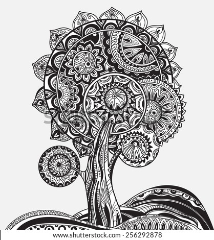 black and white abstract ornamental graphic magic tree with a lot of details - stock vector