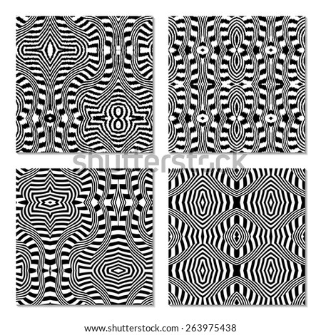 Black and white abstract seamless patterns. Ethnic background. Vector illustration. Set of 4 different tribal patterns. Monochrome. Easy editable template. - stock vector