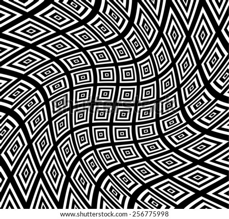Black and White Abstract Square Pattern with Swirling Distortion Effect. Spiral, Twirl Background. - stock vector