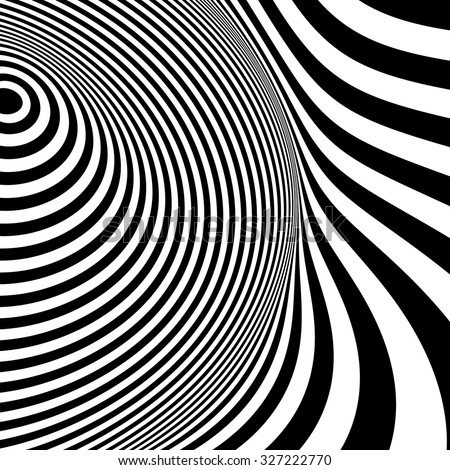 Black and white abstract striped background. Optical Art. - stock vector