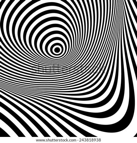 Black and white abstract striped background. Optical Art. 3d vector illustration.  - stock vector