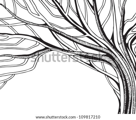 black and white abstract vector tree - stock vector