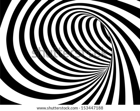 Black and white abstract vector tunnel - stock vector