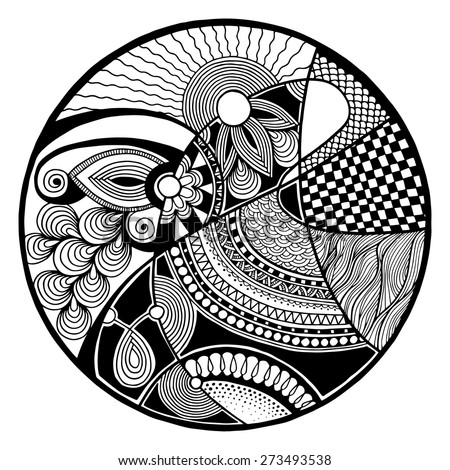 Black and white abstract zendala on circle, relax and meditation zentangle art, monochrome vector illustration - stock vector