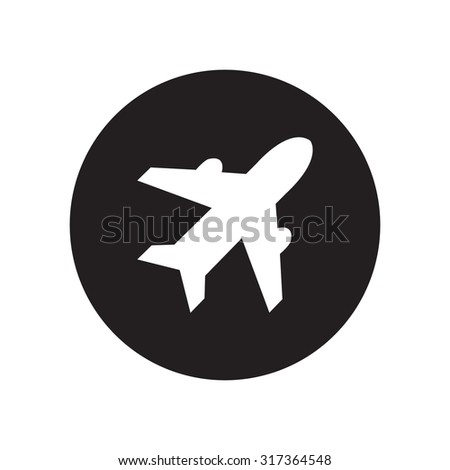 black and white Airplane sign. Plane symbol. Travel icon. Flight flat label. Classic flat icon. Vector illustration - stock vector