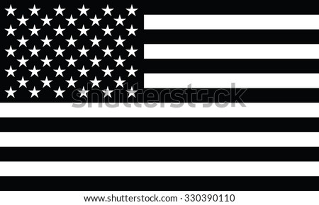 Black and white American flag.  - stock vector
