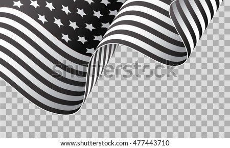 Black and white American waving flag isolated on transparent background vector illustration