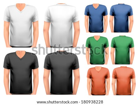 Black and white and color men t-shirts. Design template. Vector. - stock vector