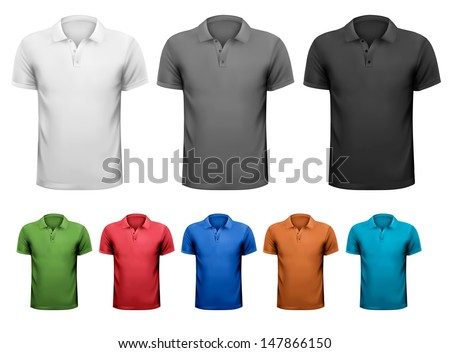 Black and white and color men t-shirts. Design template. Vector illustration - stock vector