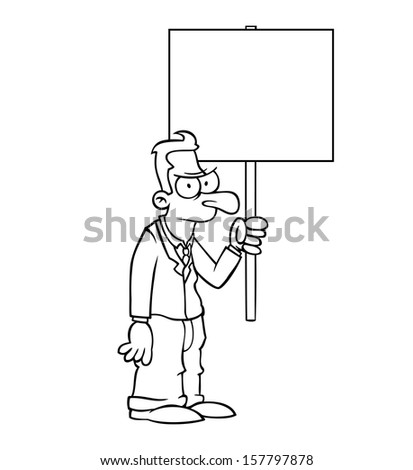 Black and white angry business man holding empty protest sign. - stock vector