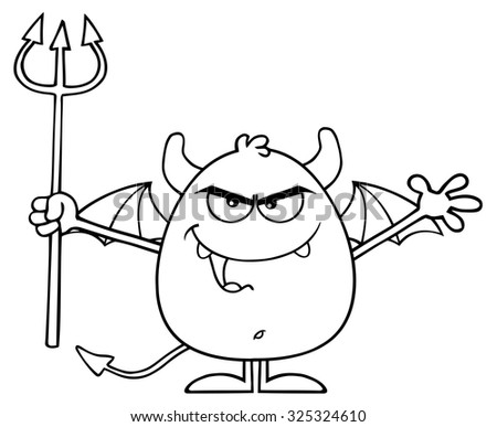 Black And White Angry Devil Cartoon Character Holding A Pitchfork. Vector Illustration Isolated On White - stock vector